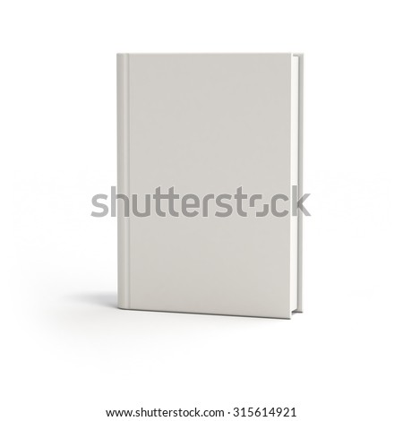 White blank mock-up book or notebook isolated with soft shadow on clean white background frontal view