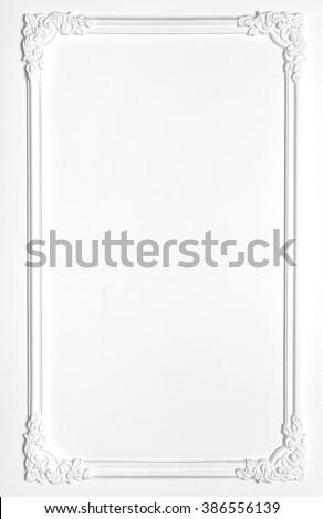 White blank old frame of gypsum in the Renaissance style. Molding - stock photo