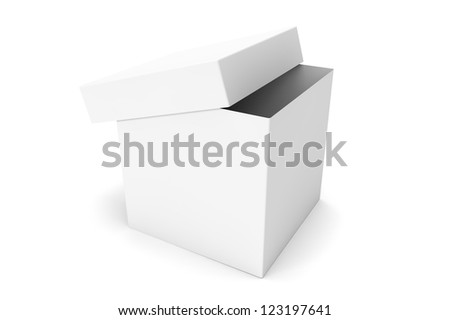 White blank open box on a white background - stock photo