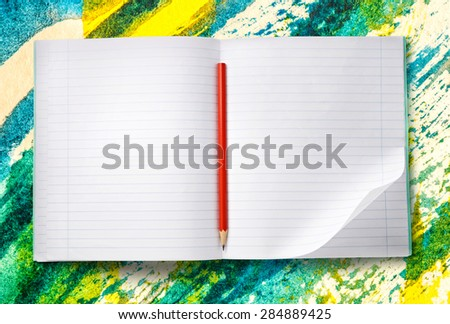 White blank open notebook with red pencil  - stock photo