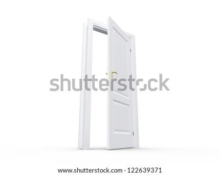 White blank opened door, isolated on white background. - stock photo