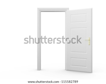 White blank opened door template, isolated on white background. - stock photo