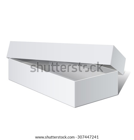 White blank Package Box Opened with the cover removed. For electronic device and other products. - stock photo