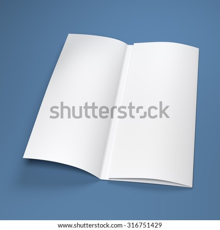 White blank paper brochure on blue background