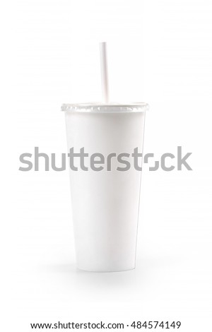 white blank paper cup with straw isolated on white background
