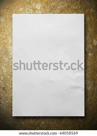 White blank paper on Gold stone texture background - stock photo