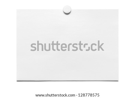 White blank paper stuck on the office notice whiteboard by a magnet in center on top