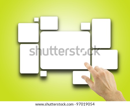White blank pictures on the wall, 3d render - stock photo