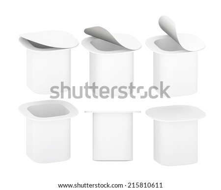 White  blank plastic  cup for  dairy product like  yogurt, cream  with clipping path.  Mock up packaging  for your design and artwork.  - stock photo