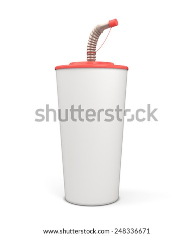 White blank plastic cup with a straw for your design isolated on white background. 3d render image. - stock photo
