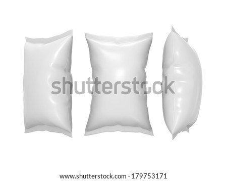 White blank  plastic  pouch use for your product like snack package with clipping path