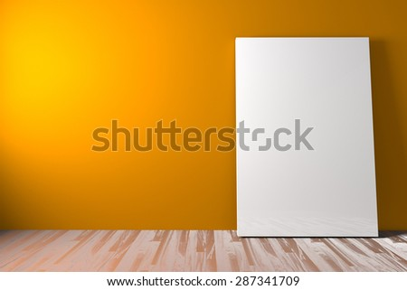 White blank poster drop to the ground in an empty room is painted orange with decorate wood floor. ,The concept can Image taken place to present their work freely. - stock photo