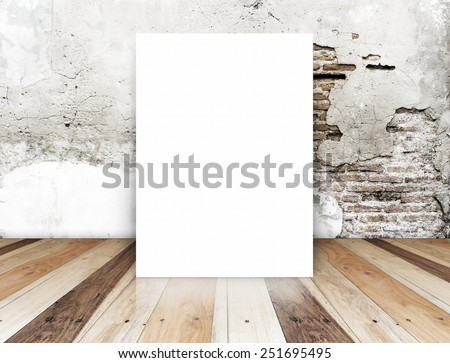 White Blank Poster in crack brick wall and tropical wooden floor room,Template Mock up for your content - stock photo
