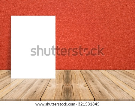 White Blank Poster in red cloth wall and tropical wooden floor room,Template Mock up for your content. - stock photo