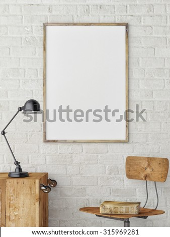 White Blank Poster in white brick wall ,Template Mock up for your content, 3d render - stock photo