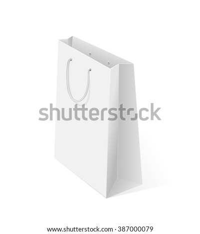 White blank shopping package isolated on white background, illustration.