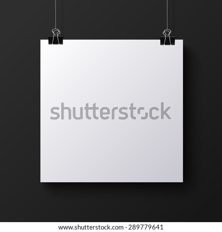 White blank square sheet of paper on the black background,  mock-up illustration