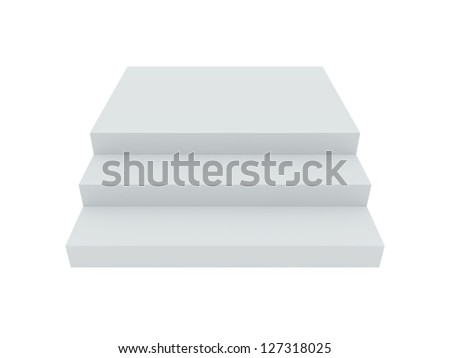 White blank stairs template, isolated on white background. - stock photo