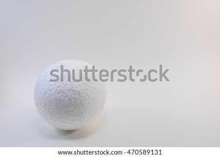 white blank styrofoam balls on white background