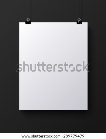 White blank vertical sheet of paper on the dark grey background,  mock-up illustration