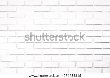 White bleached brick wall with perspective small wood strip - stock photo