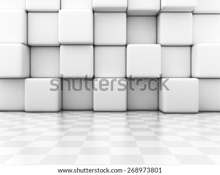White Blocks And Checker Wall Abstract Background. Architecture Design 3d Render Illustration - stock photo