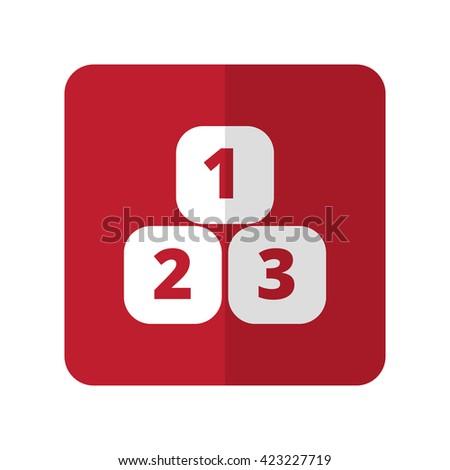White 123 Blocks flat icon on red rounded square on white - stock photo