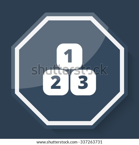 White 123 Blocks icon on plum blue web app button - stock photo