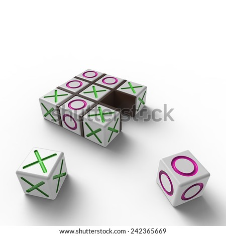 White blocks with pink noughts and green crosses in a black wooden frame on a white background - stock photo