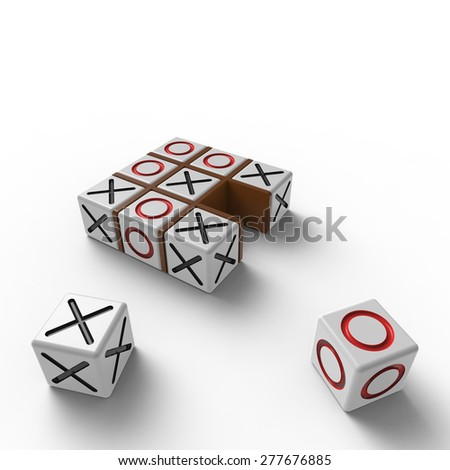 White blocks with red noughts and black crosses in a brown wooden frame on a white background - stock photo