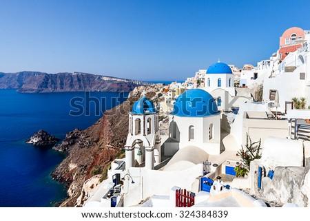 White blue architecture and Caldera view, Oia village, Santorini, Greece - stock photo