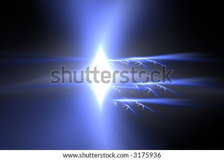 White-blue explosion over black concept of hit and science - stock photo