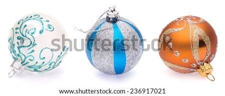 white, blue-silver, orange christmas balls on white background - stock photo