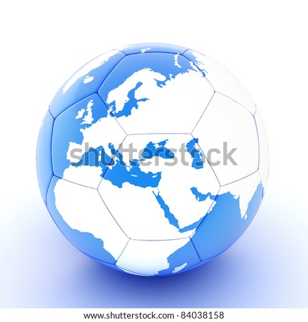 White/ blue soccer ball with world map