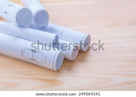 white blueprints on wooden boards with copyspace horizontal version  - stock photo
