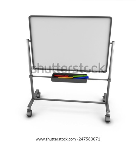 White board with colored markers, isolated on white background. 3d render image. - stock photo