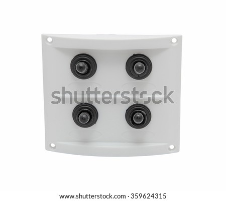 White boat dashboard with four switches isolated on white