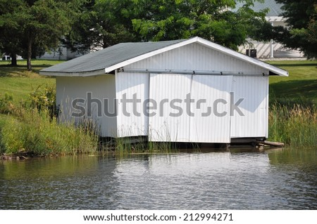 White boat house - stock photo