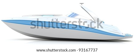 White boat isolated on a white background - stock photo