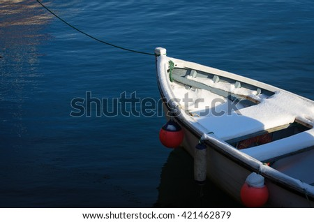 White Boat on Blue