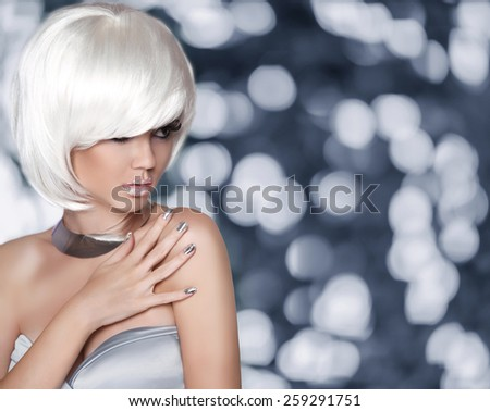 White Bob Hairstyle. Fashion Blond Girl. Glamour Woman portrait with Short Hair, makep, manicured nails isolated over grey lights background. - stock photo