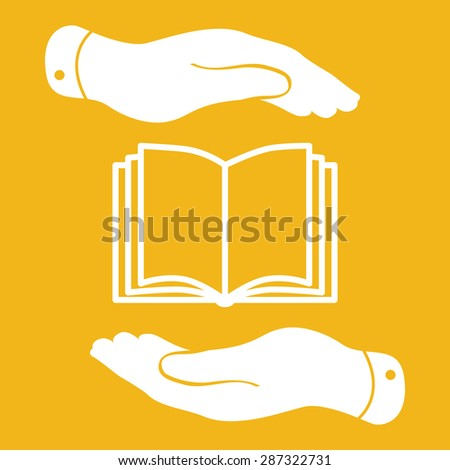white book icon in flat hands isolated on yellow background