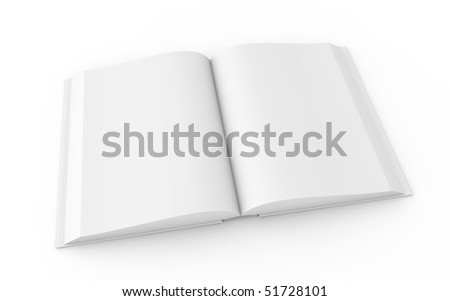 white book on white - open version - stock photo