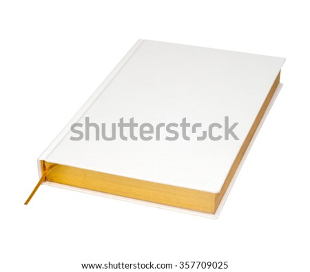 white book with gold gilt edged - stock photo