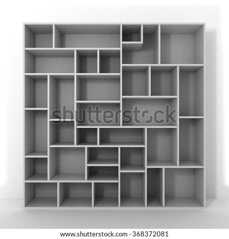 white bookcase with shelves isolated on white background - stock photo
