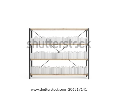 White books are situated on a white bookstand, isolated on white background.