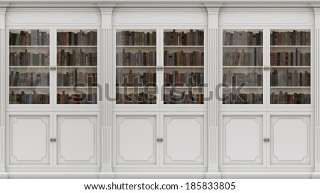 White Bookshelf. Seamless texture (vertically and horizontally). Background. Library in the Romanesque style. - stock photo