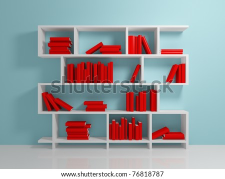 White bookshelf with a red books against blue wall.