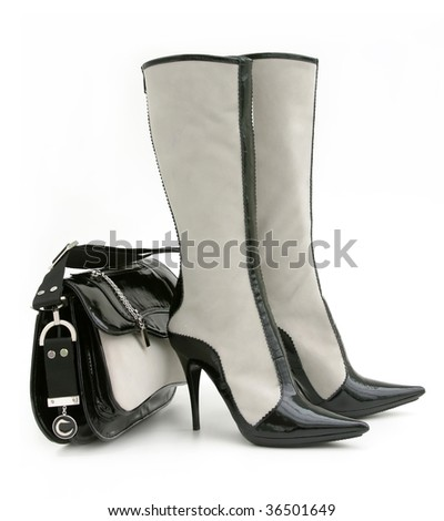 white boot and bag - stock photo