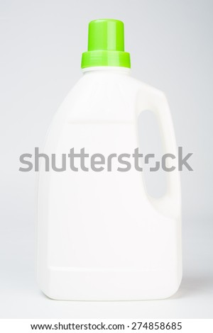 White bottle of cleaning supply, laundry detergent, fabric softener or other purpose  isolated - stock photo